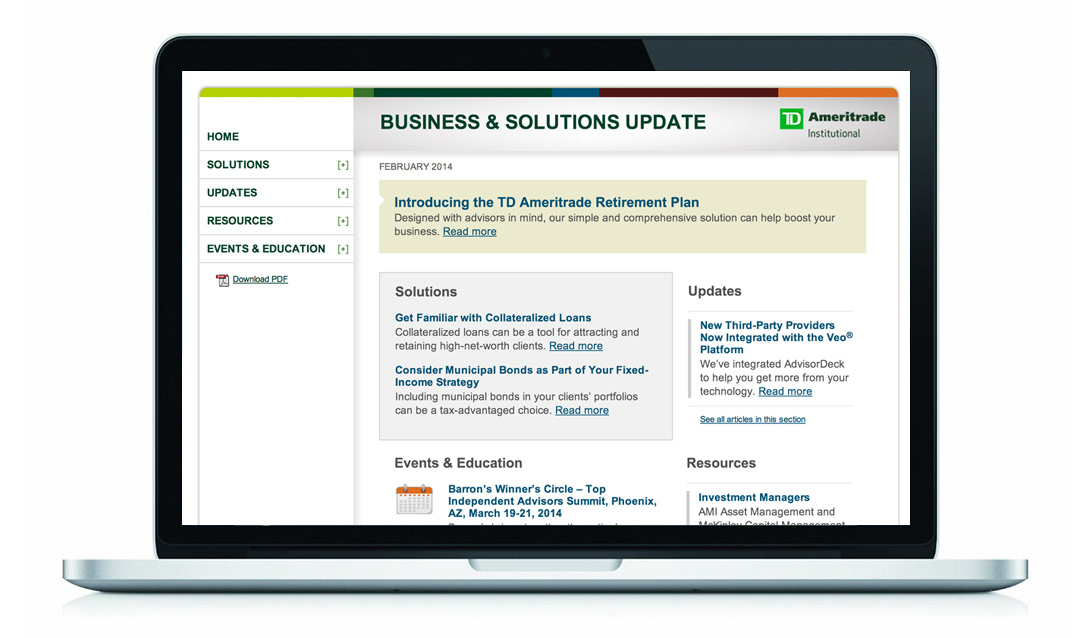 TD Ameritrade Business Solutions Newsletter